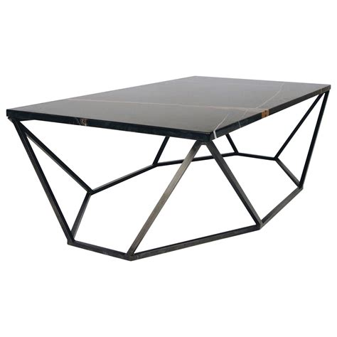 Black Marble Coffee Table Dusk Coffee Table Small In Polished Black Marble And Blackened Steel For Sale At 1stdibs