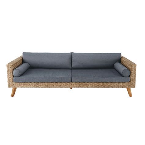 Charcoal Gray Sofa by 3 4 Seater Wicker And Canvas Garden Sofa In Charcoal Grey