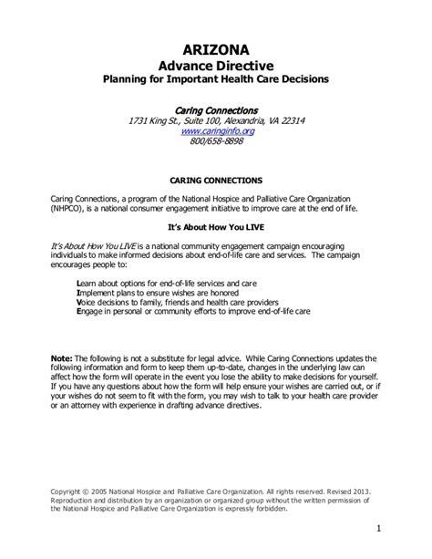 Arizona Advance Directive Free Will Template Arizona