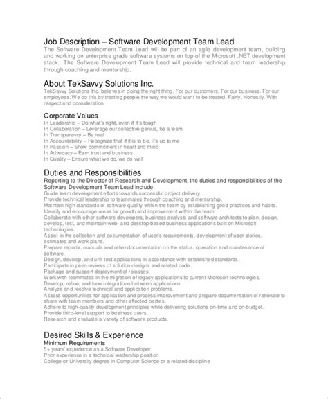 software developer description template sle software developer description 9 exles in pdf