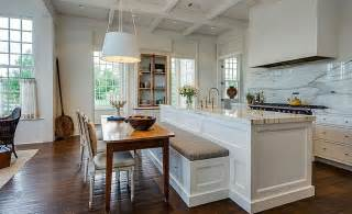 Kitchen With Island Ideas white kitchen with marble counters and backsplash with island