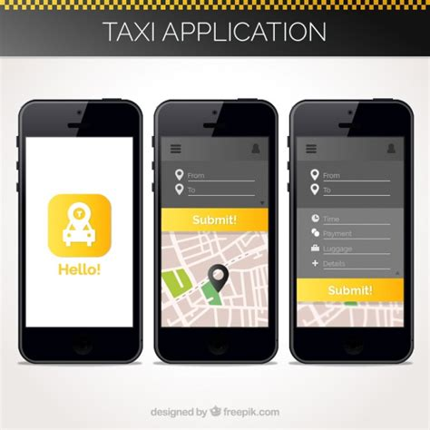 free app for mobile taxi application template for mobile vector free