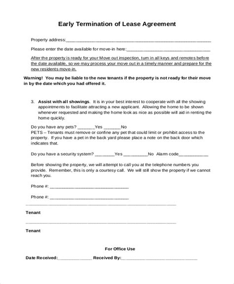 Lease Termination Agreement Exle Sle Lease Agreement Form 9 Free Documents In Doc Pdf