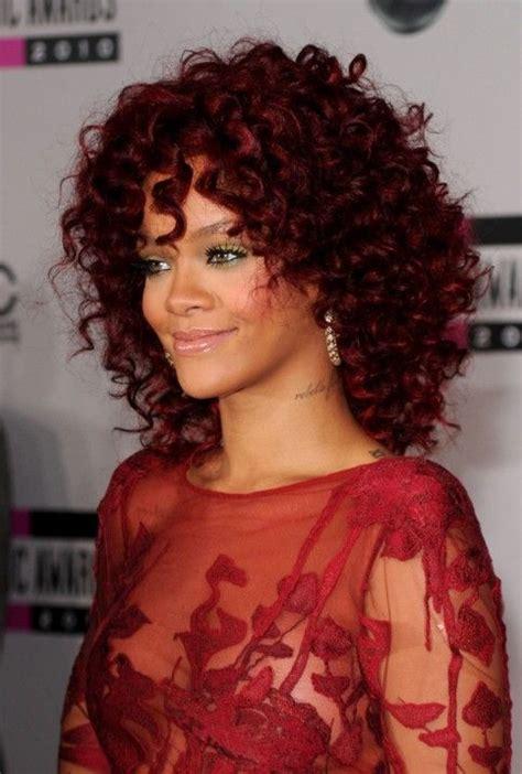medium styled dark red haircuts for latinas rihanna red hairstyles medium curly hairstyle for african