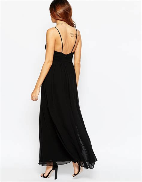 6037 maxi denim lyst asos chiffon maxi dress with gold trim in black