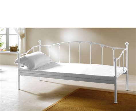 metal day bed monaco 3ft white metal day bed