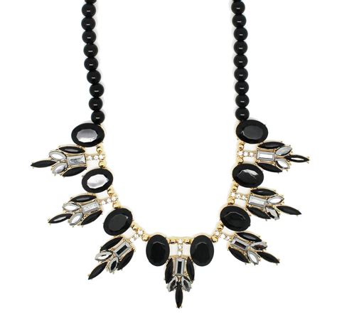 black beaded statement necklace black bead statement necklace always by diaz