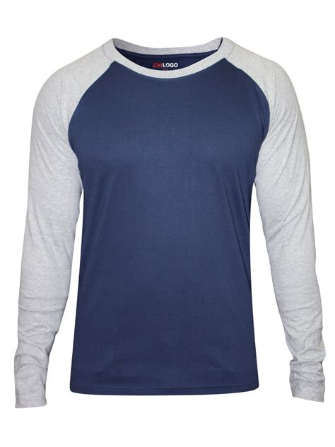 Sleeve T Shirt nologo navy grey neck sleeve t shirt nologo