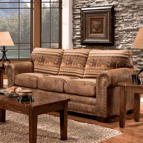 broyhill laramie microfiber sofa in distressed brown furniture horses sofa lone decor