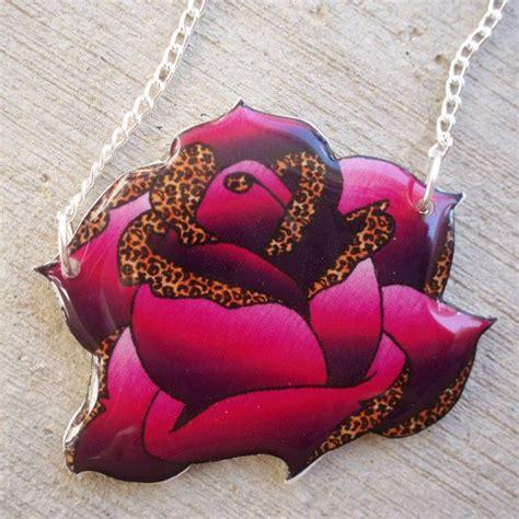 rockabilly rose tattoo rockabilly necklace purple and leopard by