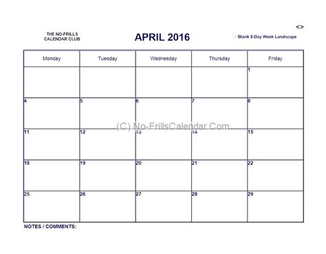 5 day week calendar template 5 day week blank calendar printable calendar template 2016
