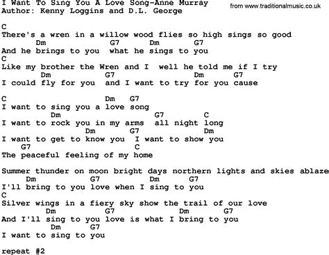 Country Music I Want To Sing You A Love Song Anne Murray