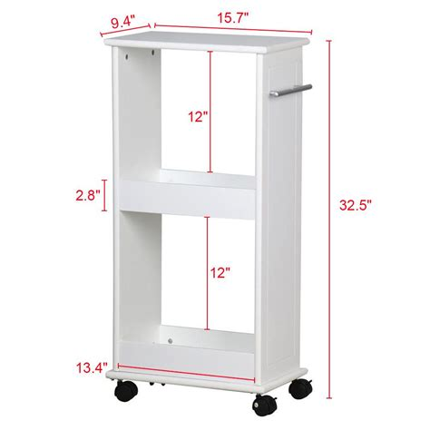 White Bathroom Space Saver Cabinet With Wheels Slimline Rolling Storage Shelf With 4 Wheels Space Saver