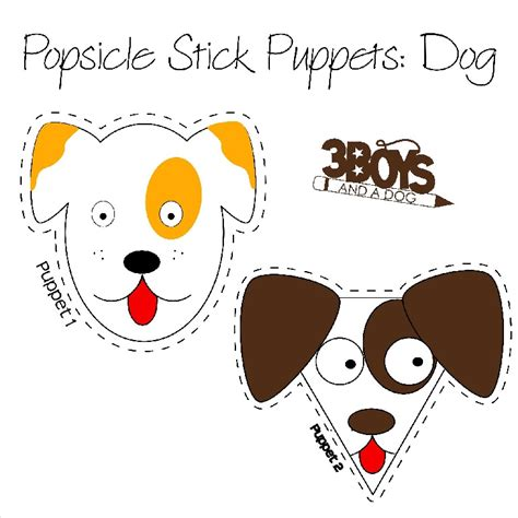 printable animal stick puppets dogs popsicle stick puppets printables 3 boys and a dog
