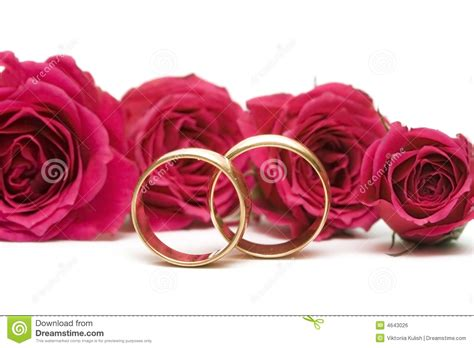 Rings With Flowers by Wedding Rings With Flowers Royalty Free Stock Image