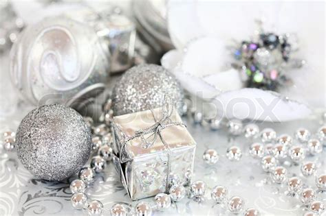 silver and white decorations ornaments in silver and white tone stock photo