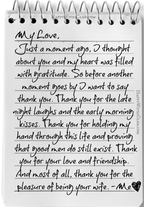 thank you letter to my husband on s day thank you for the pleasure of being your happy