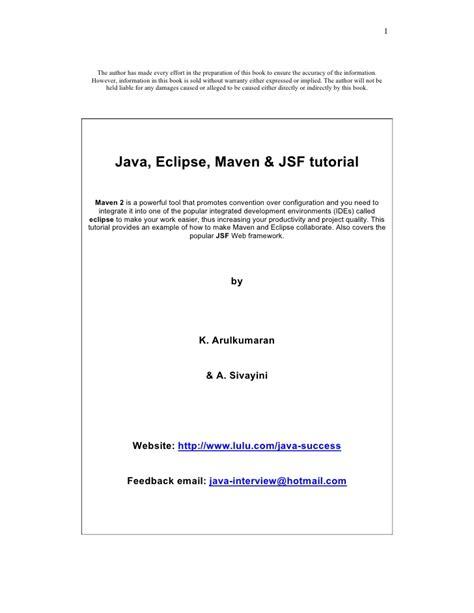 tutorial java maven 2 eclipse and jsf java eclipse maven jsf tutorial