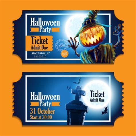 halloween party ticket vector 02 vector card vector