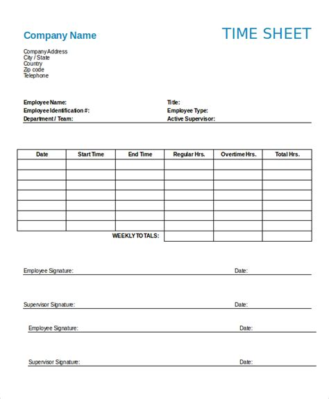 Timesheet Template 9 Free Word Excel Pdf Documents Download Free Premium Templates Employee Timecard Template Excel