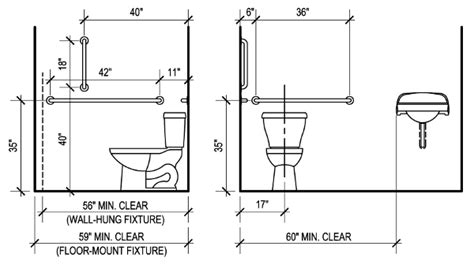 Water Closet Dimensions Residential by Ada Bathroom Requirements