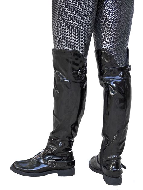 black patent the knee boots flat heel lunar tout