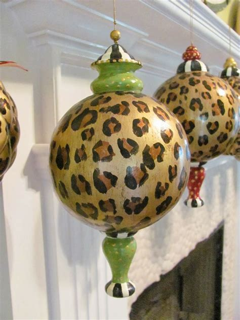 hand painted large leopard animal print christmas