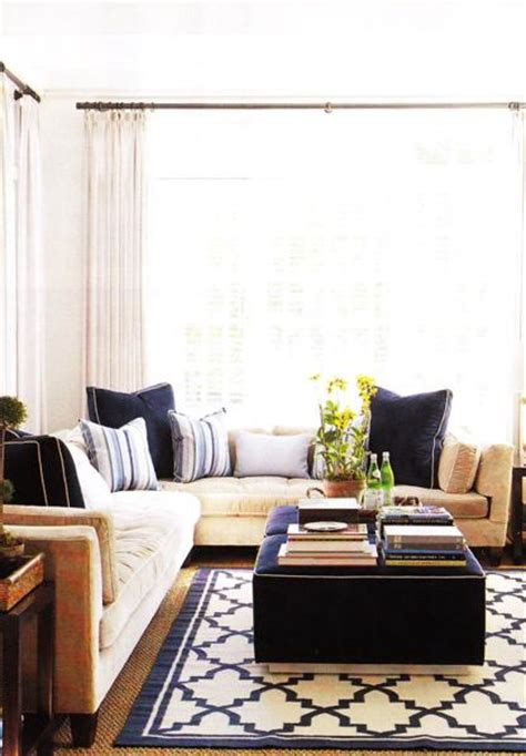Navy Sofa Living Room Trellis Rug Contemporary Living Room