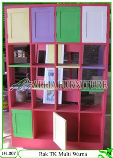 Rak Buku Paud rak buku tk klender multi warna allia furniture
