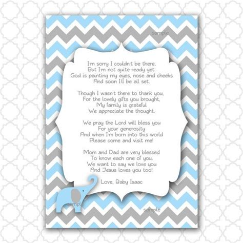baby shower thank you poems elephant baby shower thank