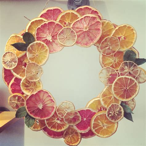 dry fruit citrus wreath with orange grapefruit and lemon