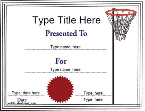 templates for netball certificates sports certificates netball tempalate