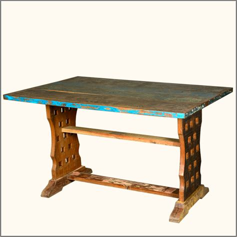 Trestle Kitchen Table Distressed Reclaimed Wood Rustic Trestle Kitchen Dining Table Furniture Ebay