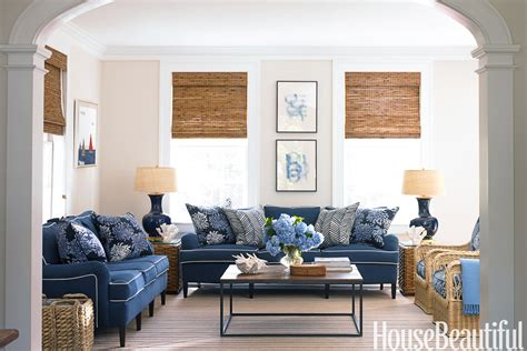 blue sofa in living room blue and white family room house beautiful pinterest