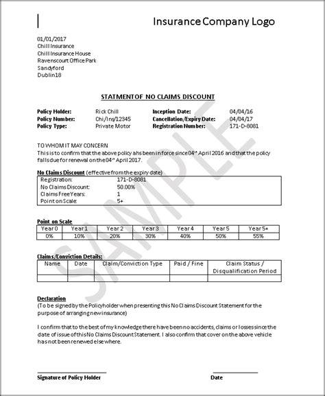 Proof Of Claim Letter car insurance no claim bonus letter sle docoments