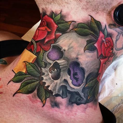 skull and roses tattoo traditional skull with roses on right side neck