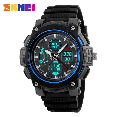 Skmei Jam Tangan Analog Digital Black Blue Ad1204 skmei jam tangan analog digital pria ad1192 black blue jakartanotebook