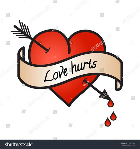 bleeding heart love hurts text on stock vector 154572026
