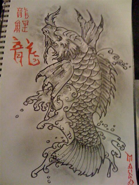 koi dragon tattoo koi design pencil and ink koi and