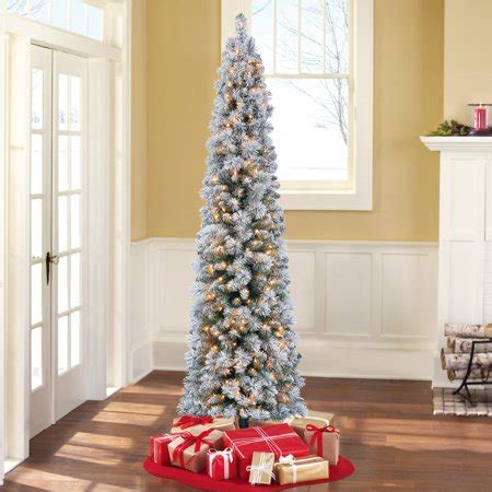 time pre lit 7 colorado flocked pencil artificial tree clear lights