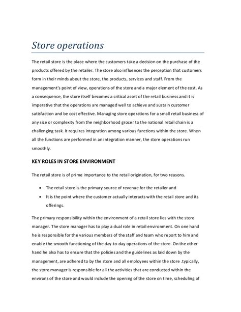 Store Operations Retail Manual Template