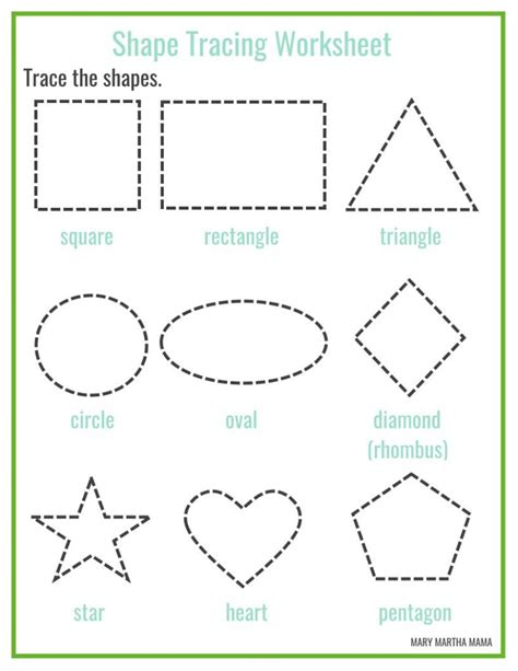free printable learning shapes shape tracing mary martha mama
