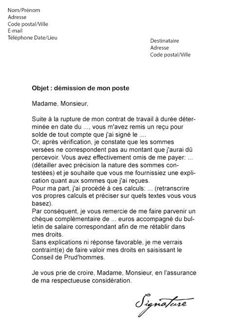 Lettre De Contestation Contrat Mobile Lettre De D 233 Mission Cdd Contestation Solde De Tout Compte Mod 232 Le De Lettre