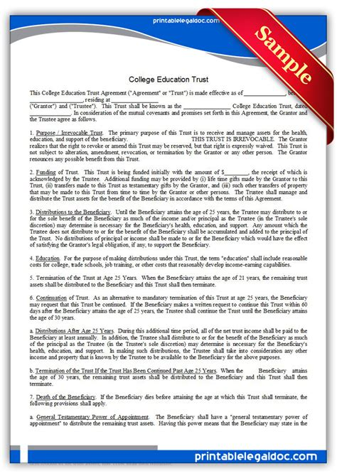 Free Printable College Education Trust Form Generic Miller Trust Template