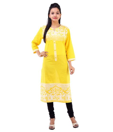 yellow kurti pattern abhianadan designs yellow cotton kurti price in india