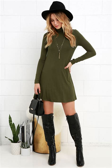 what shoes to wear with swing dress chic olive green dress swing dress long sleeve dress