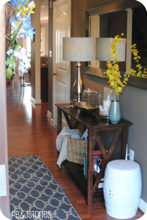 entry way table ideas entryway console rug l flowers stool on the side