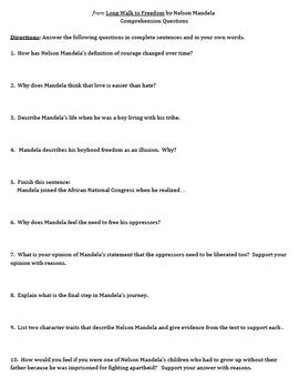 questions on biography of nelson mandela from quot long walk to freedom quot by nelson mandela