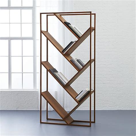 Vertical Slanted Shelves Wood Bookcase Slanted Bookshelves