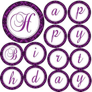 free printable purple happy birthday banner happy birthday or its a girl printable purple damask